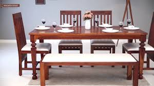 6 seater dining set ariana 6 seater dining set in honey finish wooden street
