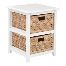 osp designs seabrook white 2 tier storage unit with natural baskets