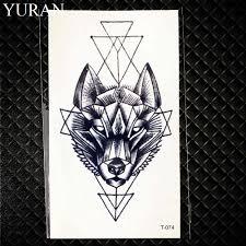 Geometric Moose Elk Arrow Temporary Tattoo Panda Women Hand Tatoo Sticker Triangle Wolf Body Arm Art Waterproof Tattoo Men Deer