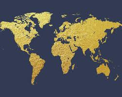 World Map Posters World Map Gold Foil Poster
