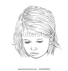 Sketch Of Cute Child Girl Sad Face With Lowered Eyes Vector Hand