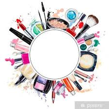 frame of various watercolor decorative cosmetic makeup s pixerstick sticker lifestyle
