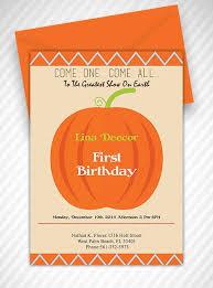 Pumpkin Invitations Template Our Little Pumpkin First Birthday Invitation Template Free Pdf