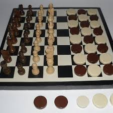 Homemade Wooden Games Find more Wooden Chess Set Checkers heavy Plastic Pieces 90