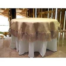 what size tablecloth for 60 inch round table tablecloth round burlap with 5 inch fringe in