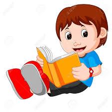 vector young boy cartoon reading book