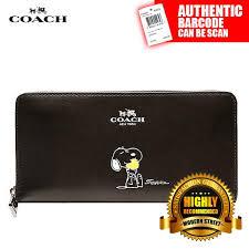 Coach X F53773  NWT  Peanuts Snoopy Accordion Zip Black Calfskin Wallet -  SV
