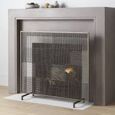 ansel plaid fireplace screen crate and barrel throughout flat screens designs 9