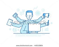 home office multitasking. brilliant office vector self employment concept in trendy flat linear style  multitasking  freelancer man working on on home office multitasking