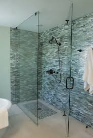 fancy image of bathroom shower design and decoration with various glass tile shower wall astounding