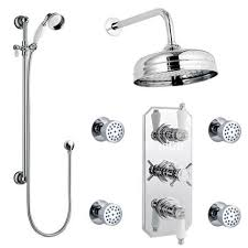 traditional triple concealed shower valve with diverter 8 fixed shower head 4