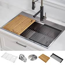 Shop Kraus Kore Workstation Drop In Stainless Steel Kitchen Sink