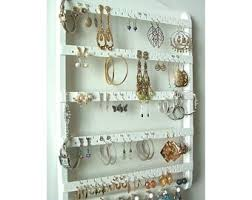 wall jewelry storage. Beautiful Storage ON SALE Jewelry Holder Earring Organizer Solid Oak Wood White Stain  Necklace Storage Wall Rack Choose Stai And Storage E