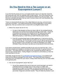 what does extensive experience mean do you need to hire a tax lawyer or an expungement lawyer by