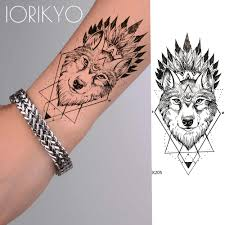 Iorikyo Geometry Punk Wolf Temporary Tattoo Men Arm Stickers Black Small Fake Personality Tatoo Women Body Art Waterproof Tattoo