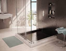 interior amazing bathroom with clear glass shower area plus black