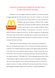 Doc Mcdonalds And Organizational Theories Mahmut