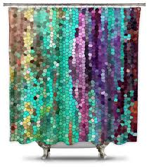 purple blue and green shower curtain catherine holcombe morning mosaic fabric 5