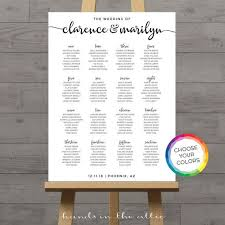 Wedding Seating Chart Poster Board Portrait Wedding Seating Chart Board White Poster Printable