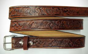 african wildlife embossed leather belts