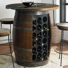Wine barrell furniture Ice Chest Wine Enthusiast Loire Wine Barrel Pub Table With Glass And Wood Top Wine Enthusiast