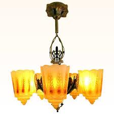 vintage 5 light lincoln slip shade chandelier