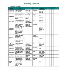 Examples Of Cleaning Schedules Cleaning Schedule Template 25 Free Sample Example Format