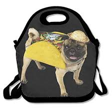 pug in taco costume.  Taco Pug Dog Taco CostumeFunny Deluxe Lunch Bag Inside In Costume J