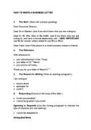 Basic Business Letters How To Write A Basic Business Letter Esl Worksheet By Iruka