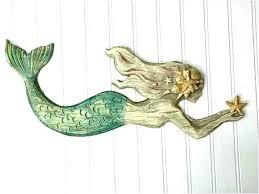 large mermaid wall decor metal art outdoor best of hanging beach wooden