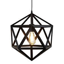 Geometric Pendant Light Metal 1 Light Geometric Pendant Matt Black