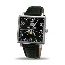men s moon phase watch square classic black dial black leather men s moon phase watch square classic black dial black leather strap davis 1730