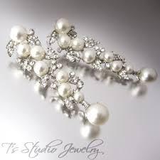 leafy pearl rhinestone crystal chandelier bridal earrings bella