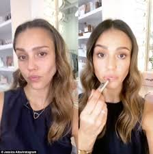 before and after jessica alba gave her social a followers a peak at her makeup