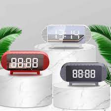 2021 çalar saat Bluetooth hoparlör LED masa saati taşınabilir Bluetooth  kablosuz LCD ekran müzik çalar hoparlör çalar saat Alarm Saatleri