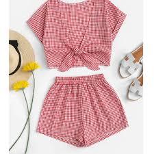 Fashion Ladies plaid V Necktop and shorts suit Women Printed ...
