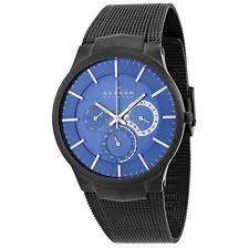 skagen men s black titanium blue dial watch 809xltbn skagen mens titanium case and steel mesh multifunction blue dial watch 809xltbn