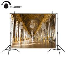 Us 945 32 Offallenjoy Photo Background Gorgeous Royal Palace Chandelier Golden Gallery Photography Backdrops Backgrounds For Photo Studio In
