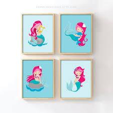 mermaid nursery prints set of 4 nursery