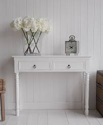 hall console table white. New England White Console Table With Two Drawers And Antique Brass Handles For Hall Furniture R