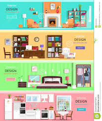 Living Room Bedroom Furniture Set Of Colorful Vector Interior Design House Rooms With Furniture