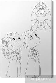 Leinwandbild Illustrazione Da Colorare Di Bambini Alla Prima