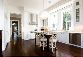 white brown colors kitchen breakfast. Wonderful Breakfast Contemporary Kitchen Dark Wood High Gloss Hardwood Flooring White Drum Shade  Chandelier Lighting Brown Small Breakfast Table Round Bar Stools Backrest L  With Colors I