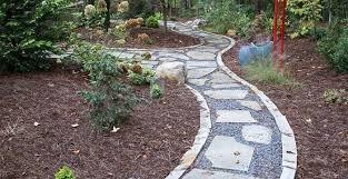 flagstone path in garden
