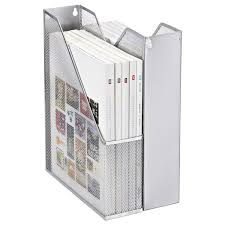 Wire Mesh Magazine Holder Silver Mesh Magazine Holder The Container Store 1