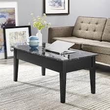 faux marble lift top coffee table black