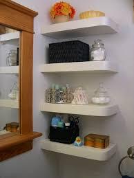 corner bathroom shelf idea white floating shelf