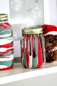 Christmas Decorated Mason Jars Christmas Drip Painting Mason Jars with Milk Paint 79
