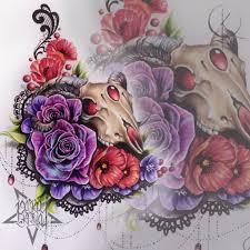 череп с цветами и кружевамиэскиз подойдет для тату на бедре или