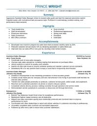 Retail Resume Examples Assistant Manager Automotive Professional